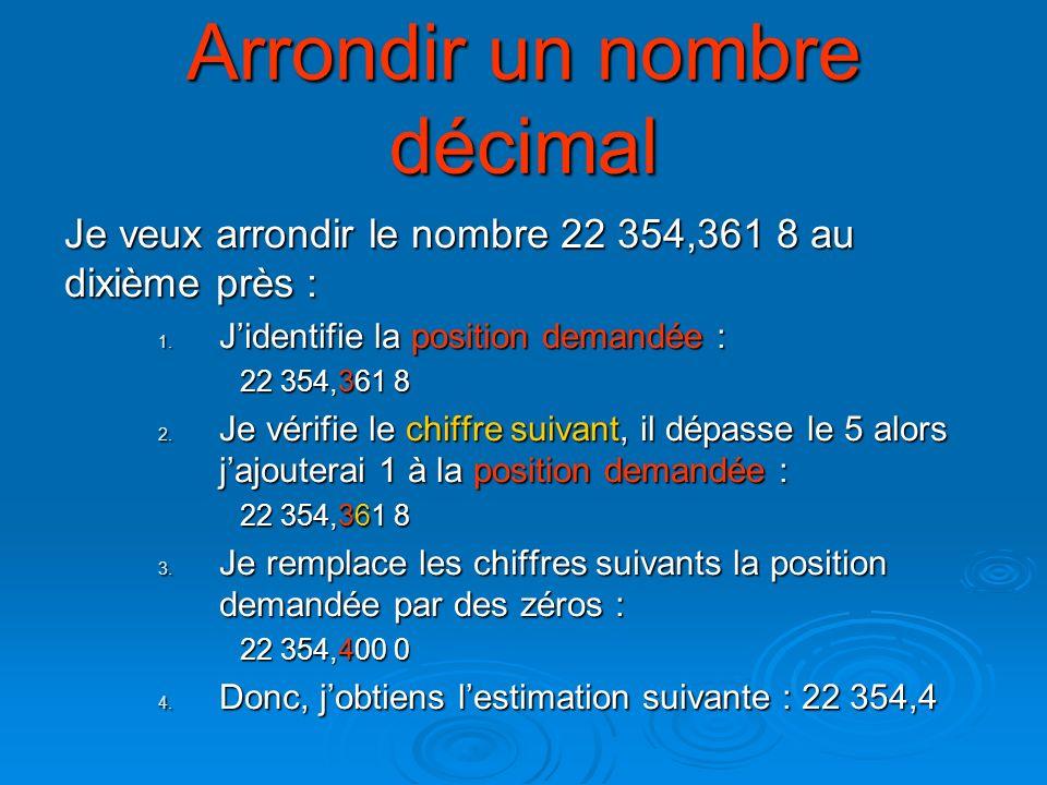 Arrondir un nombre décimal Je veux arrondir le nombre 22 354,361 8 au dixième près : 1. Jidentifie la position demandée : 22 354,361 8 2. Je vérifie l