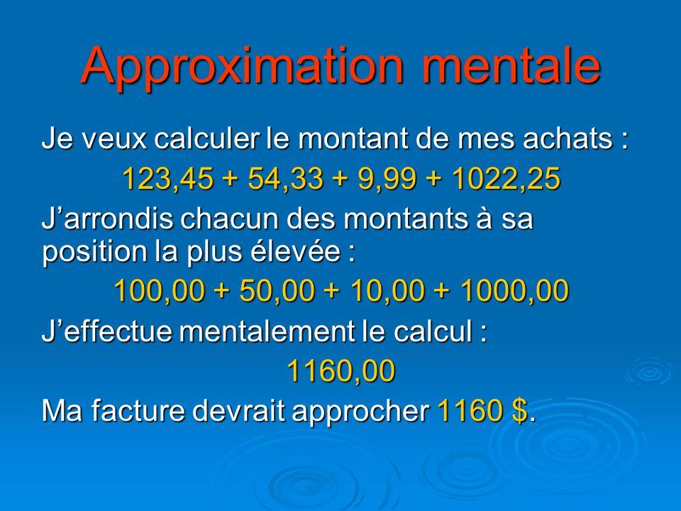 Approximation mentale Je veux calculer le montant de mes achats : 123,45 + 54,33 + 9,99 + 1022,25 Jarrondis chacun des montants à sa position la plus