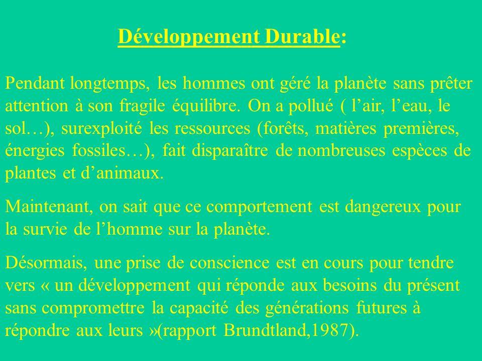 Développement Durable: Pendant longtemps, les hommes ont géré la planète sans prêter attention à son fragile équilibre.