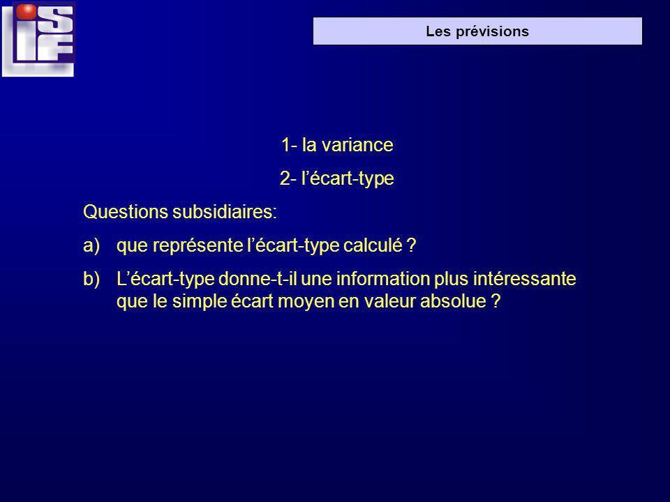 Les prévisions 1- la variance 2- lécart-type Questions subsidiaires: a)que représente lécart-type calculé ? b)Lécart-type donne-t-il une information p