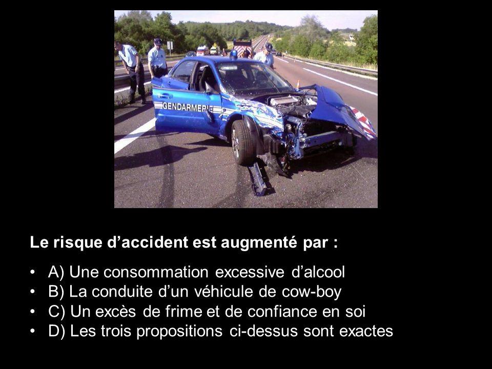 Le risque daccident est augmenté par : A) Une consommation excessive dalcool B) La conduite dun véhicule de cow-boy C) Un excès de frime et de confian