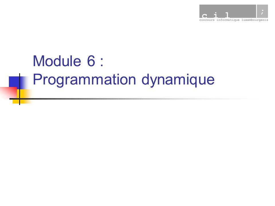 26/7/2006Programmation dynamique12 Conclusion Un algorithme peut « souvent/parfois » être amélioré de manière tout à fait notable.