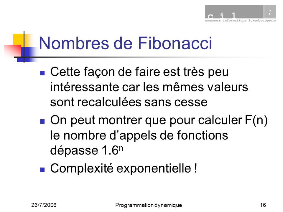 26/7/2006Programmation dynamique16 Nombres de Fibonacci Cette façon de faire est très peu intéressante car les mêmes valeurs sont recalculées sans cesse On peut montrer que pour calculer F(n) le nombre dappels de fonctions dépasse 1.6 n Complexité exponentielle !