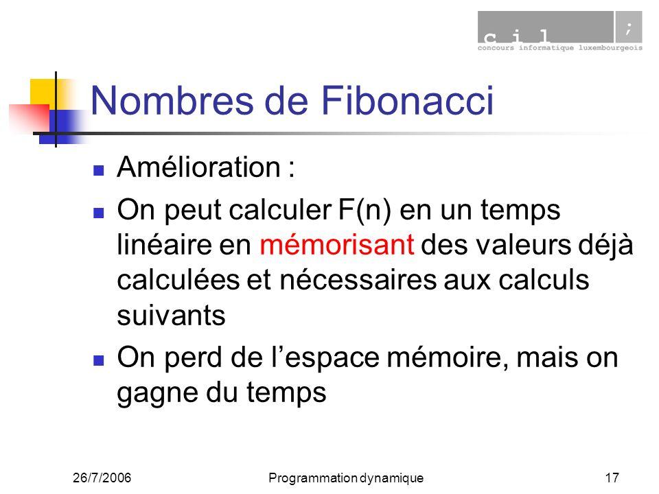 26/7/2006Programmation dynamique17 Nombres de Fibonacci Amélioration : On peut calculer F(n) en un temps linéaire en mémorisant des valeurs déjà calcu