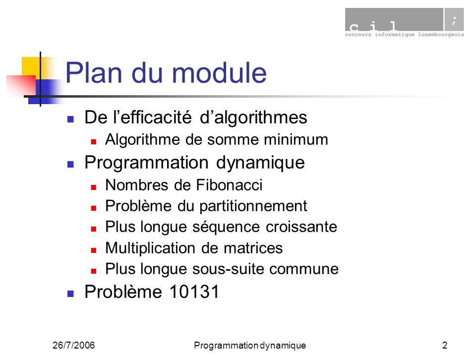26/7/2006Programmation dynamique2 Plan du module De lefficacité dalgorithmes Algorithme de somme minimum Programmation dynamique Nombres de Fibonacci Problème du partitionnement Plus longue séquence croissante Multiplication de matrices Plus longue sous-suite commune Problème 10131