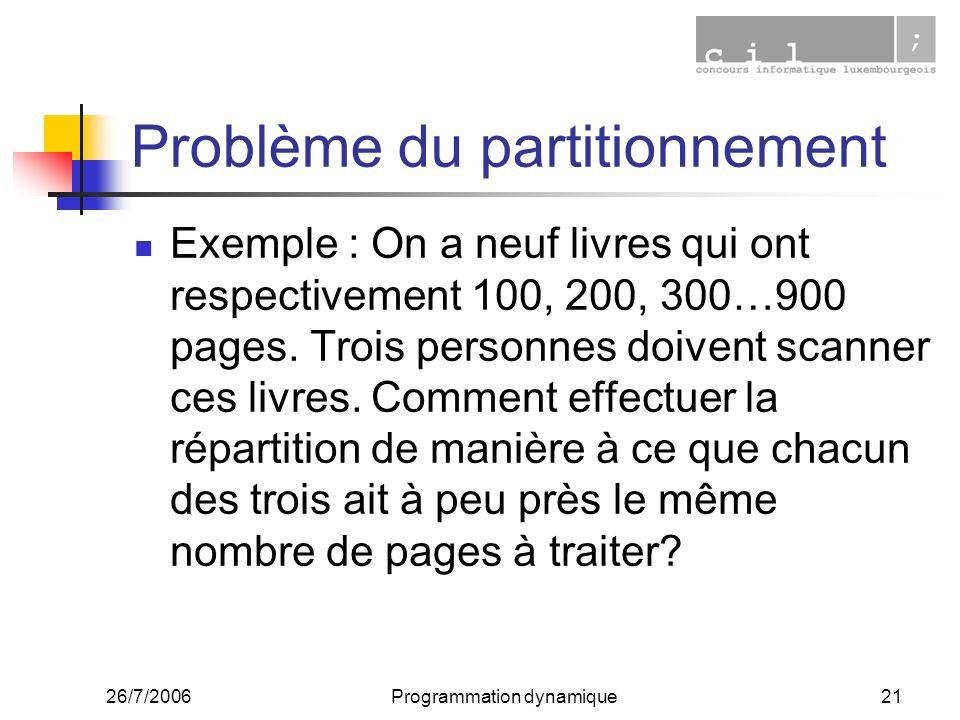 26/7/2006Programmation dynamique21 Problème du partitionnement Exemple : On a neuf livres qui ont respectivement 100, 200, 300…900 pages. Trois person