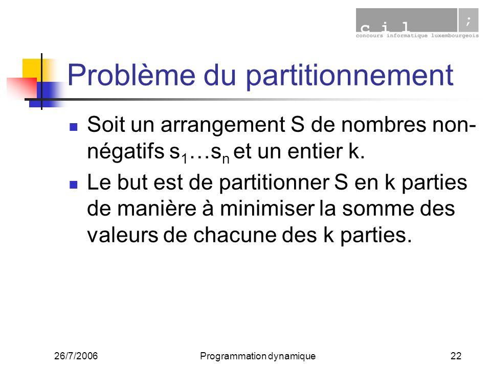 26/7/2006Programmation dynamique22 Problème du partitionnement Soit un arrangement S de nombres non- négatifs s 1 …s n et un entier k. Le but est de p
