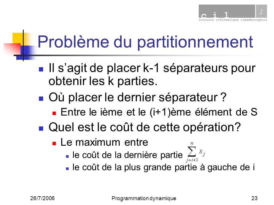 26/7/2006Programmation dynamique23 Problème du partitionnement Il sagit de placer k-1 séparateurs pour obtenir les k parties. Où placer le dernier sép