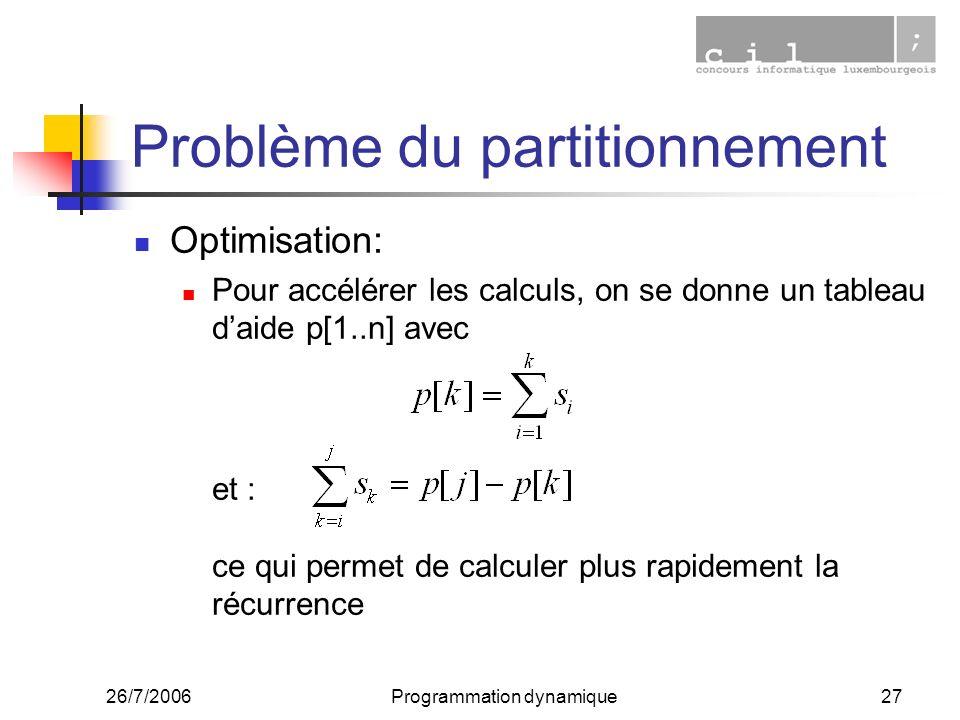 26/7/2006Programmation dynamique27 Problème du partitionnement Optimisation: Pour accélérer les calculs, on se donne un tableau daide p[1..n] avec et : ce qui permet de calculer plus rapidement la récurrence