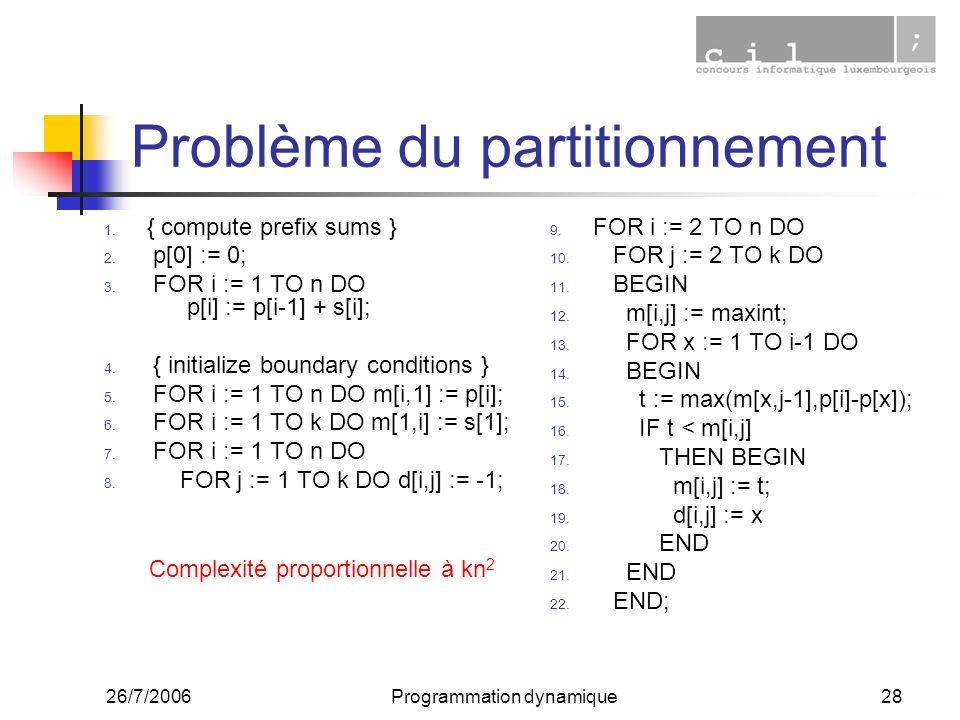 26/7/2006Programmation dynamique28 Problème du partitionnement 1. { compute prefix sums } 2. p[0] := 0; 3. FOR i := 1 TO n DO p[i] := p[i-1] + s[i]; 4