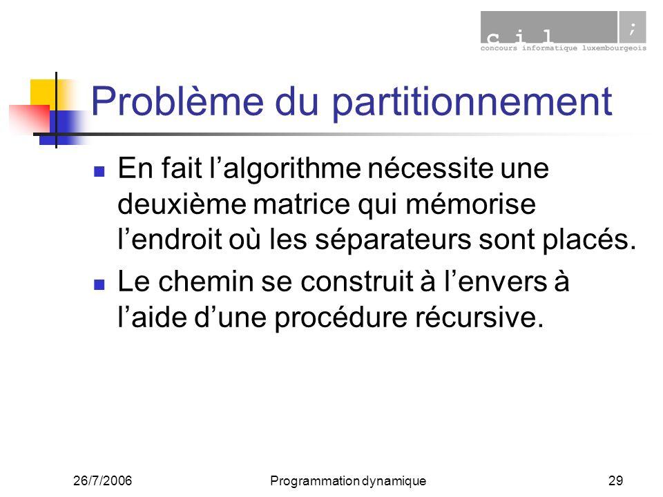 26/7/2006Programmation dynamique29 Problème du partitionnement En fait lalgorithme nécessite une deuxième matrice qui mémorise lendroit où les séparateurs sont placés.