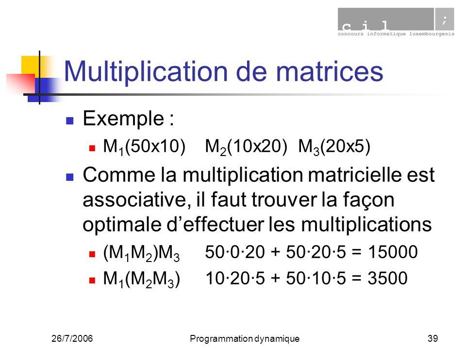 26/7/2006Programmation dynamique39 Multiplication de matrices Exemple : M 1 (50x10)M 2 (10x20)M 3 (20x5) Comme la multiplication matricielle est associative, il faut trouver la façon optimale deffectuer les multiplications (M 1 M 2 )M 3 50·0·20 + 50·20·5 = 15000 M 1 (M 2 M 3 )10·20·5 + 50·10·5 = 3500