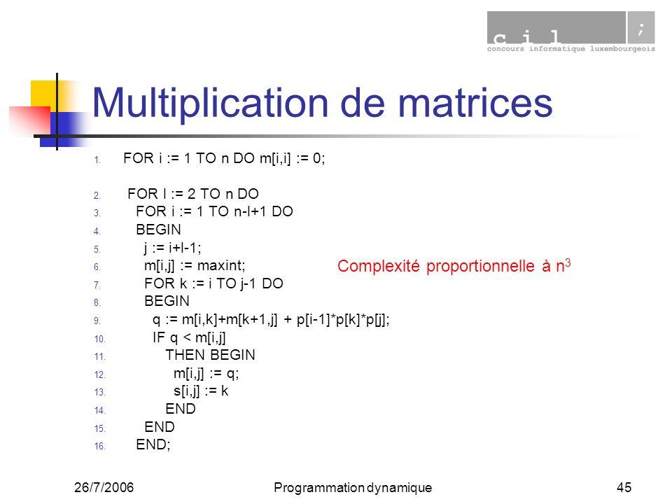 26/7/2006Programmation dynamique45 Multiplication de matrices 1. FOR i := 1 TO n DO m[i,i] := 0; 2. FOR l := 2 TO n DO 3. FOR i := 1 TO n-l+1 DO 4. BE