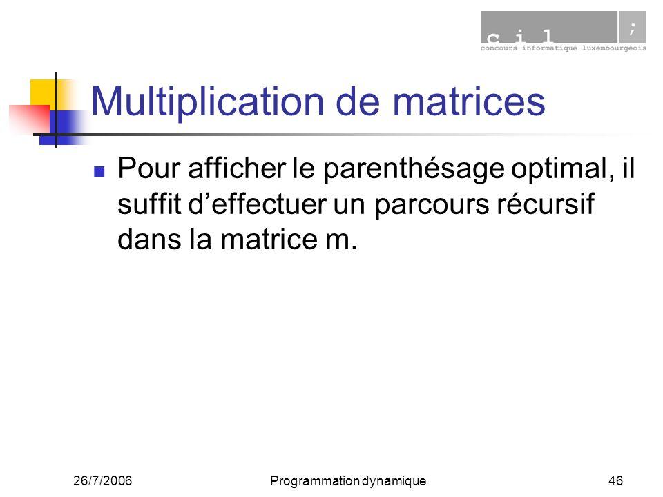 26/7/2006Programmation dynamique46 Multiplication de matrices Pour afficher le parenthésage optimal, il suffit deffectuer un parcours récursif dans la