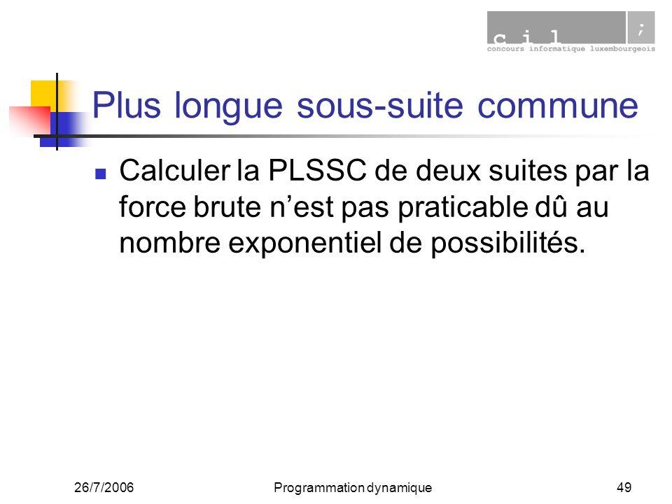 26/7/2006Programmation dynamique49 Plus longue sous-suite commune Calculer la PLSSC de deux suites par la force brute nest pas praticable dû au nombre exponentiel de possibilités.