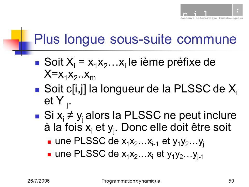 26/7/2006Programmation dynamique50 Plus longue sous-suite commune Soit X i = x 1 x 2 …x i le ième préfixe de X=x 1 x 2..x m Soit c[i,j] la longueur de