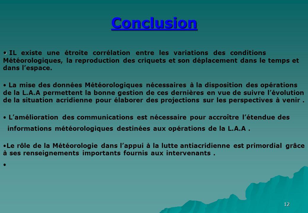 12 Conclusion IL existe une étroite corrélation entre les variations des conditions Météorologiques, la reproduction des criquets et son déplacement d