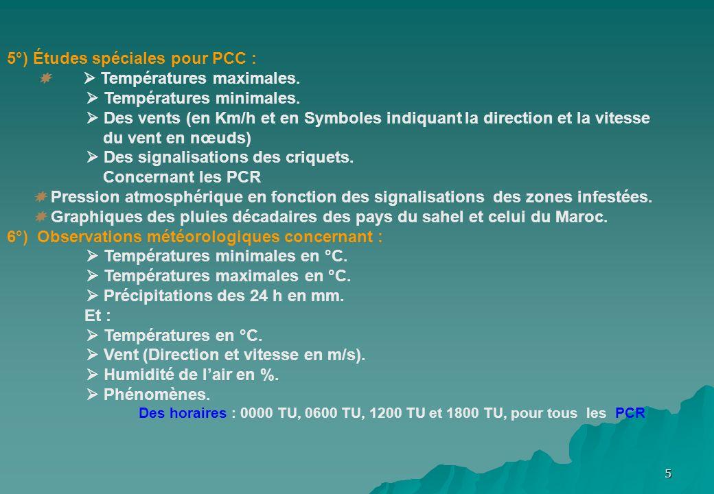 5 5°) Études spéciales pour PCC : Températures maximales. Températures minimales. Des vents (en Km/h et en Symboles indiquant la direction et la vites