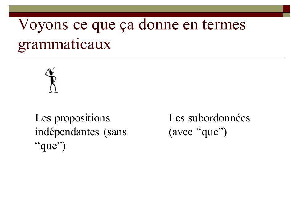 Voyons ce que ça donne en termes grammaticaux Les propositions indépendantes (sans que) Les subordonnées (avec que)