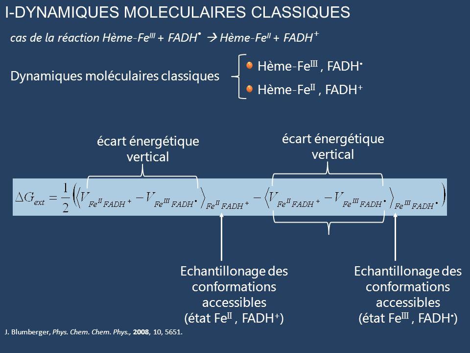 I-DYNAMIQUES MOLECULAIRES CLASSIQUES Dynamiques moléculaires classiques cas de la réaction Hème-Fe III + FADH Hème-Fe II + FADH + Hème-Fe III, FADH Hème-Fe II, FADH + Echantillonage des conformations accessibles (état Fe II, FADH + ) Echantillonage des conformations accessibles (état Fe III, FADH ) écart énergétique vertical J.