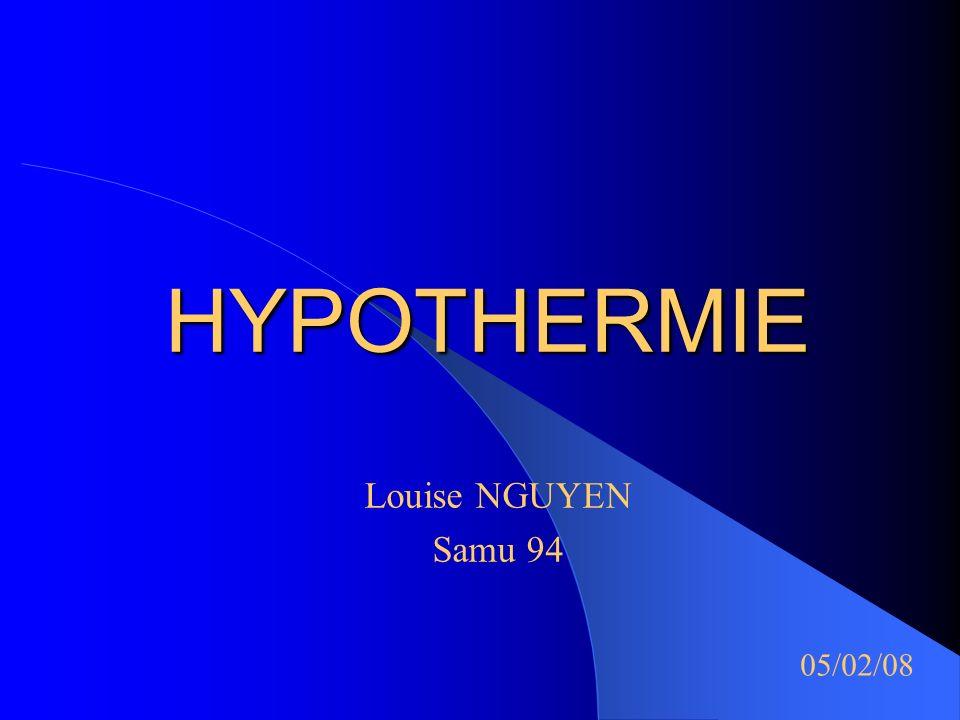 Louise NGUYEN - Topo Internes - SAMU 94 Autres cons é quences Neuro: - diminution DSC ( somnolence, confusion) - effet protecteur vis à vis ischémie cérébrale (hypothermie modérée) Respiratoire: - diminution ventilation alvéolaire - diminution libération O2 de lHb niveau tissulaire - baisse activité mucociliare, inhibition réflexe de toux Métabolique : - acidose métabolique ( production lactates ) - hyperglycémie - diminution filtration glomérulaire - thrombopénie, thrombopathie