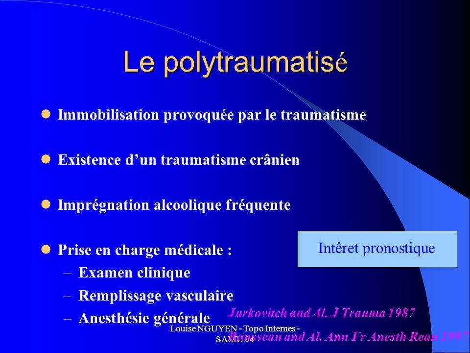 Louise NGUYEN - Topo Internes - SAMU 94 Le polytraumatis é Immobilisation provoquée par le traumatisme Existence dun traumatisme crânien Imprégnation