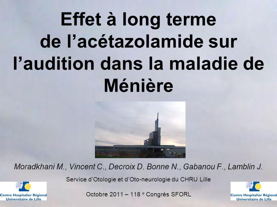 Effet à long terme de lacétazolamide sur laudition dans la maladie de Ménière Moradkhani M., Vincent C., Decroix D.