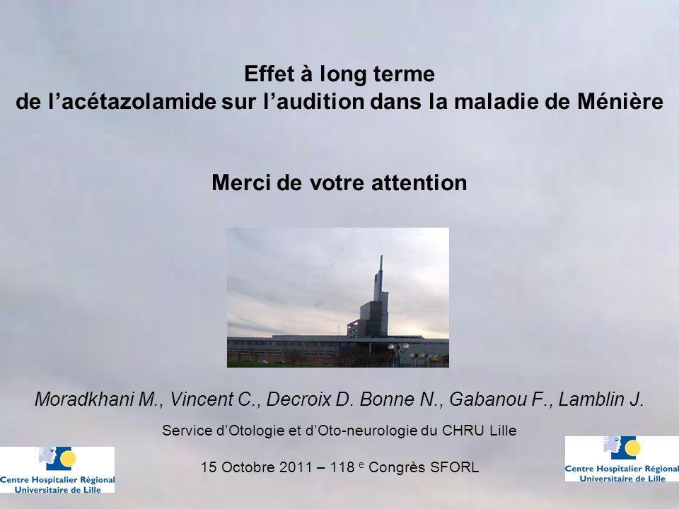 Effet à long terme de lacétazolamide sur laudition dans la maladie de Ménière Merci de votre attention Moradkhani M., Vincent C., Decroix D.