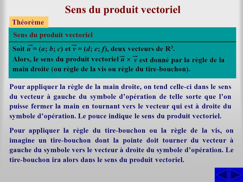 Sens du produit vectoriel Théorème Soit u = (a; b; c) et v = (d; e; f), deux vecteurs de R 3.