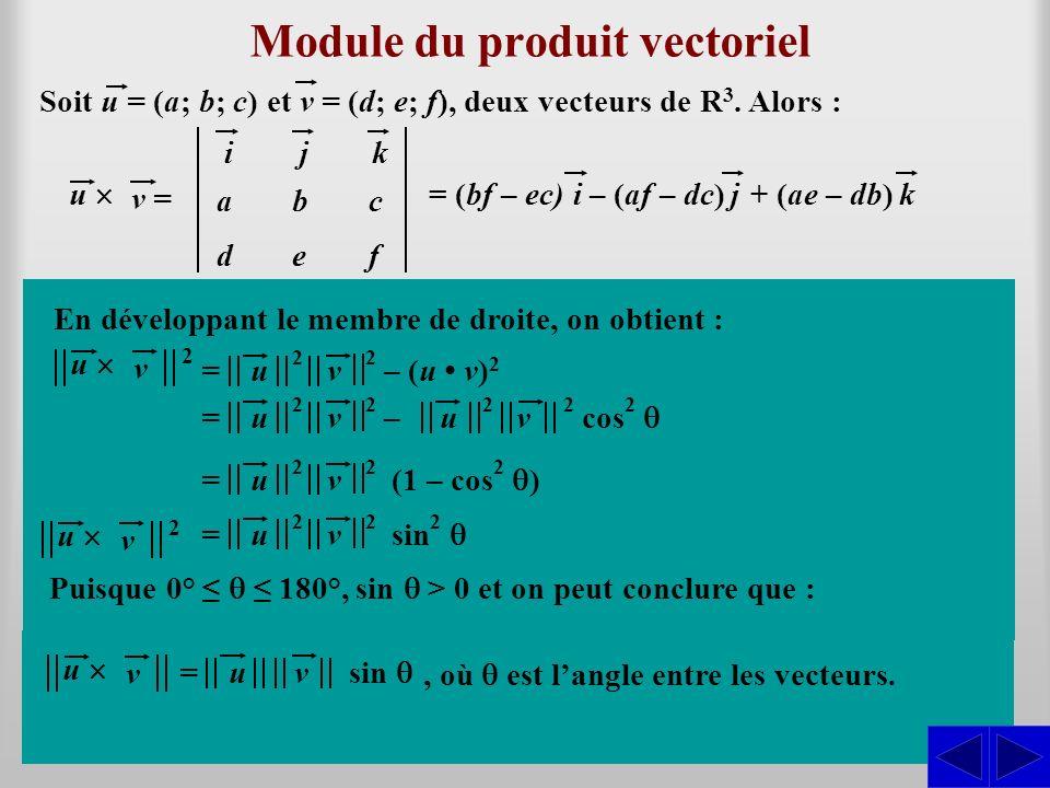 u v 2 u v 2 Module du produit vectoriel Soit u = (a; b; c) et v = (d; e; f), deux vecteurs de R 3.