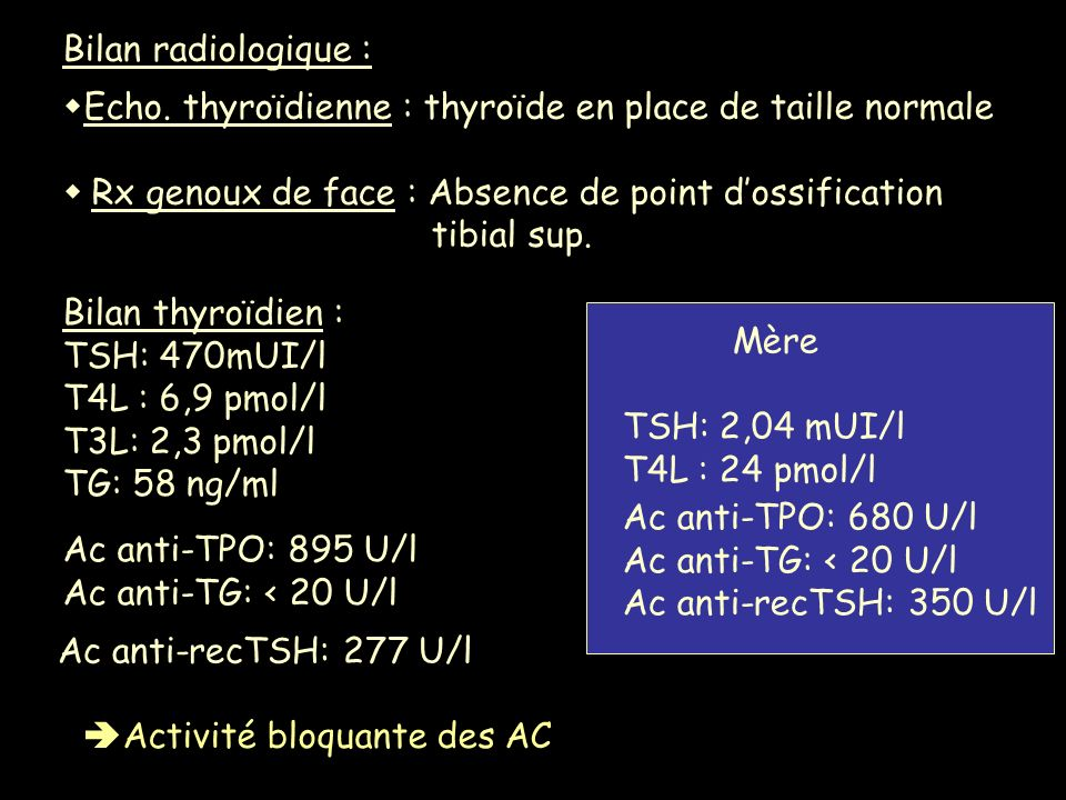 Bilan radiologique : Echo. thyroïdienne : thyroïde en place de taille normale Rx genoux de face : Absence de point dossification tibial sup. Bilan thy
