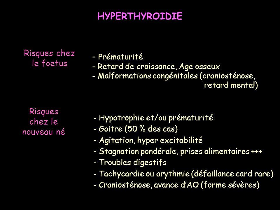 - Prématurité - Retard de croissance, Age osseux - Malformations congénitales (craniosténose, retard mental) Risques chez le foetus - Hypotrophie et/o