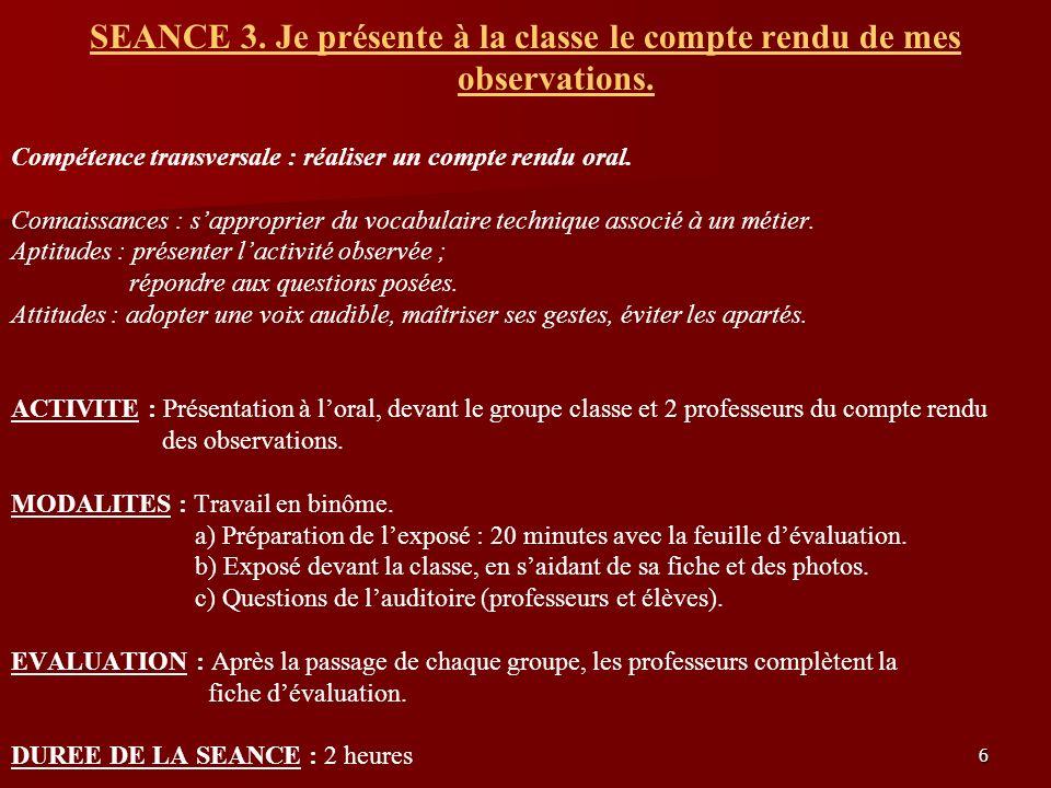 6 SEANCE 3. Je présente à la classe le compte rendu de mes observations. Compétence transversale : réaliser un compte rendu oral. Connaissances : sapp