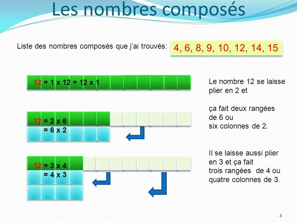 3 Le partage des nombres Ce tableau montre le partage des nombres de la colonne en rouge. Par exemple : 10 = 1 x 10 = 10 x 1= 5 x 2 = 2 x 5. Le nombre
