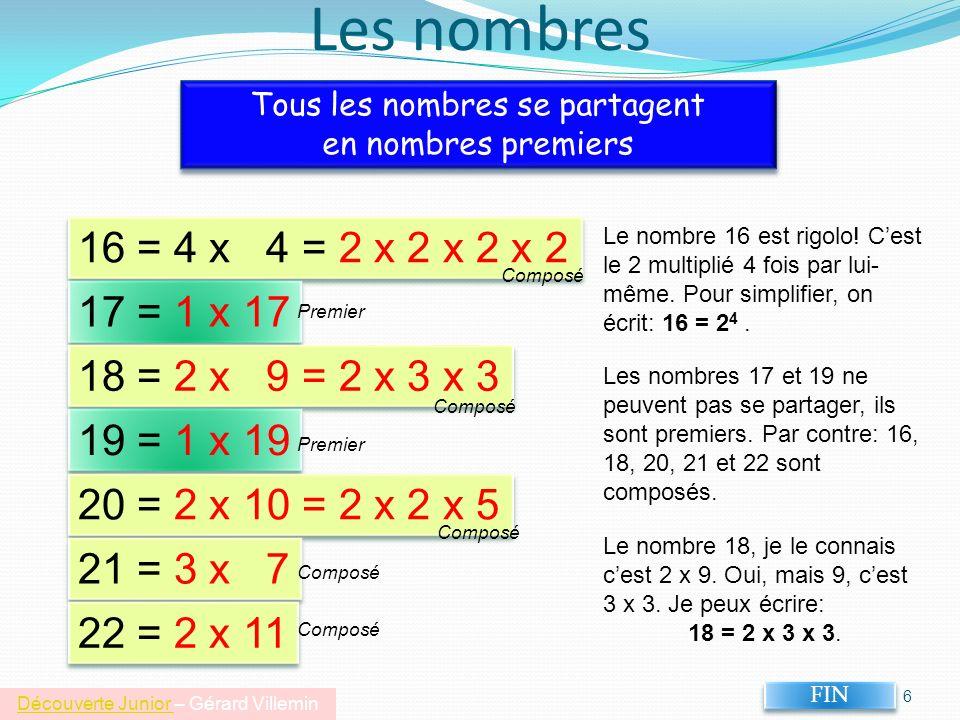 5 Les nombres premiers Liste des nombres premiers que jai trouvés: 2, 3, 5, 7, 11, 13 Ces nombres ne peuvent se représenter que sur une ligne.
