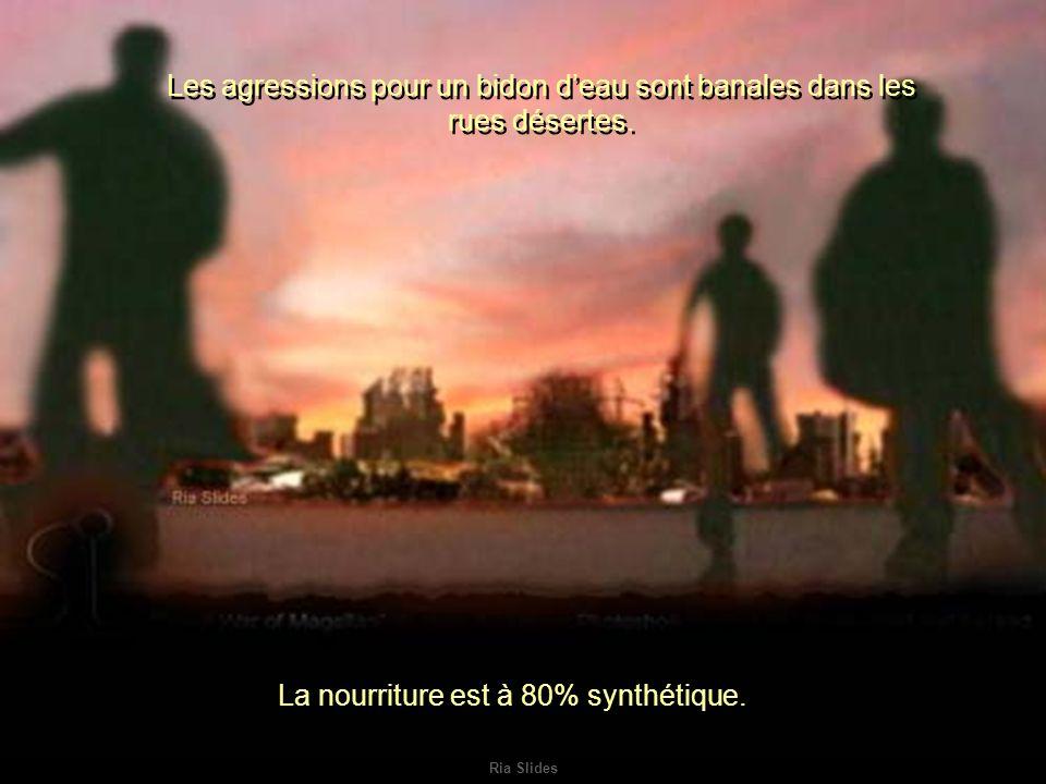 Ria Slides Les agressions pour un bidon deau sont banales dans les rues désertes.