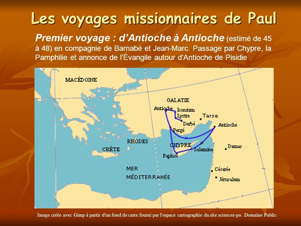 Les voyages missionnaires de Paul Image créée avec Gimp à partir d'un fond de carte fourni par l'espace cartographie du site sciences-po. Domaine Publ