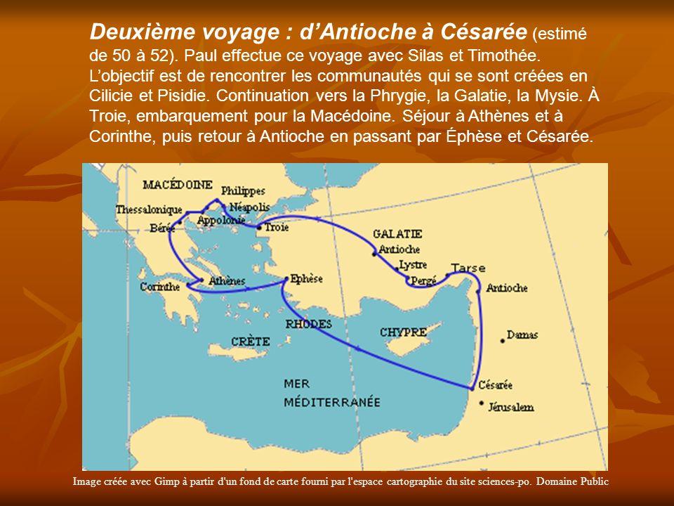 Image créée avec Gimp à partir d'un fond de carte fourni par l'espace cartographie du site sciences-po. Domaine Public Deuxième voyage : dAntioche à C