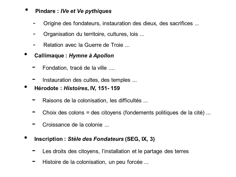 Pindare : IVe et Ve pythiques Origine des fondateurs, instauration des dieux, des sacrifices... Organisation du territoire, cultures, lois... Relation