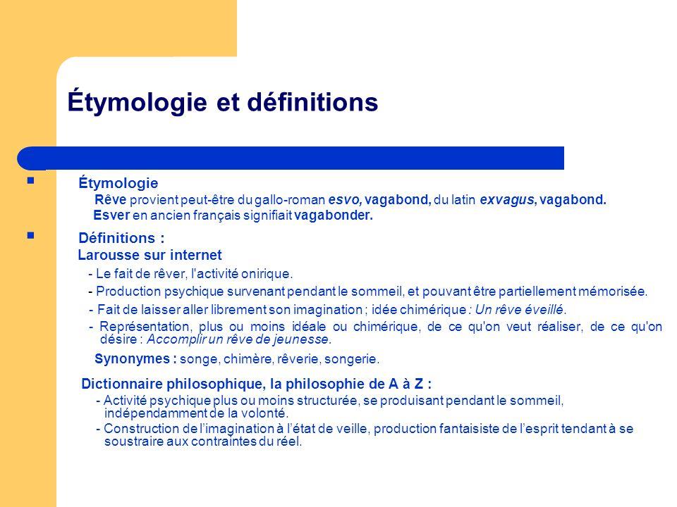 Étymologie et définitions Étymologie Rêve provient peut-être du gallo-roman esvo, vagabond, du latin exvagus, vagabond. Esver en ancien français signi