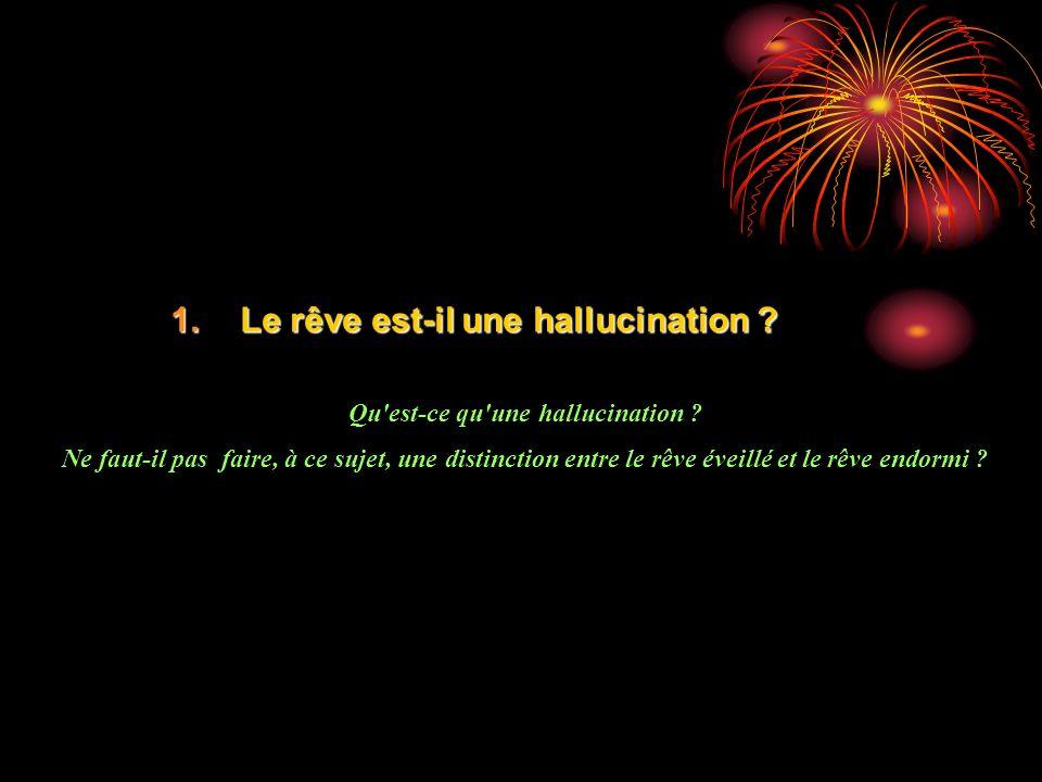 1.Le rêve est-il une hallucination ? Qu'est-ce qu'une hallucination ? Ne faut-il pas faire, à ce sujet, une distinction entre le rêve éveillé et le rê