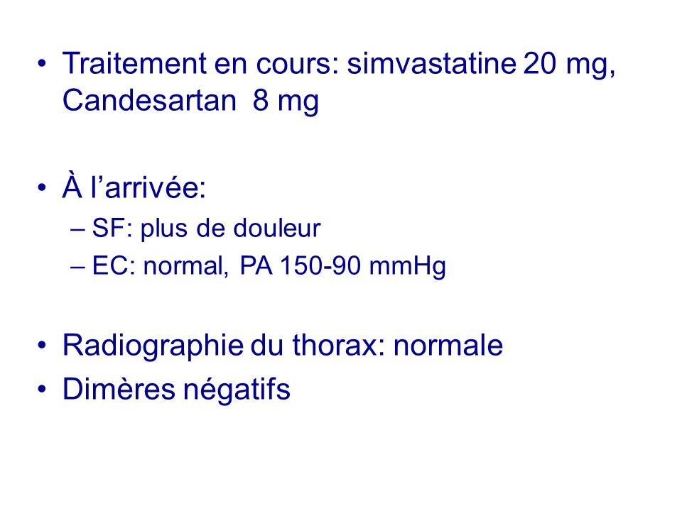 Traitement en cours: simvastatine 20 mg, Candesartan 8 mg À larrivée: –SF: plus de douleur –EC: normal, PA 150-90 mmHg Radiographie du thorax: normale