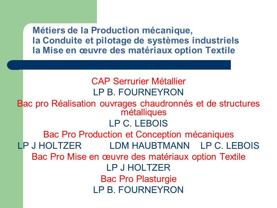 Métiers de lElectrotechnique et systèmes électroniques, de la Maintenance industrielle CAP Préparation et réalisation des ouvrages électriques LP B.