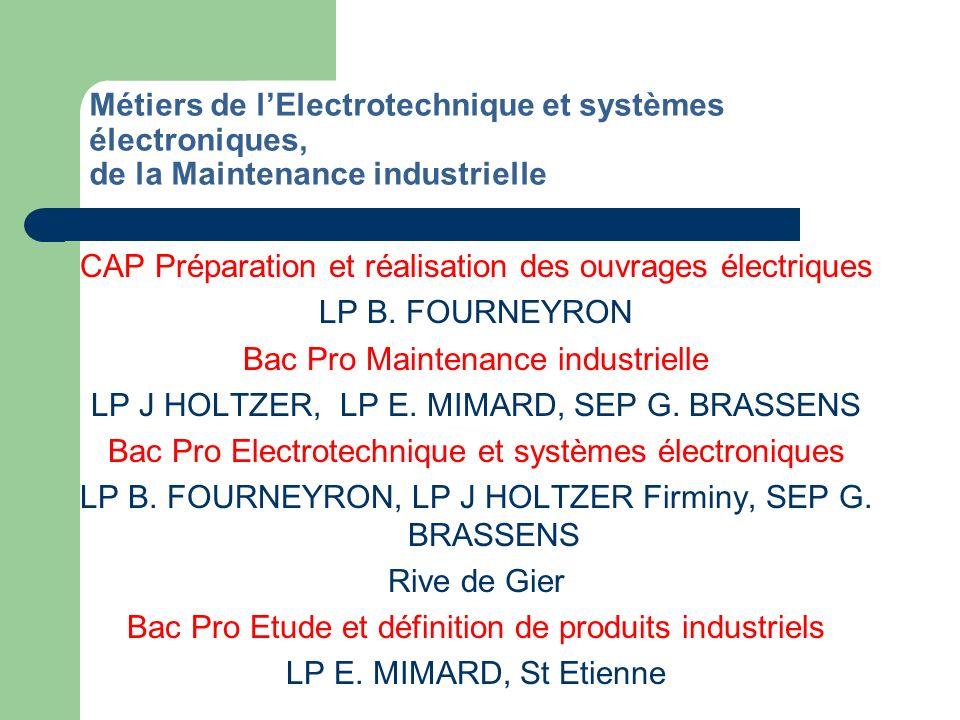 Métiers de la Maintenance des véhicules et des matériels Métiers de la Carrosserie Bac Pro Maintenance automobile Option voitures particulières LP E.