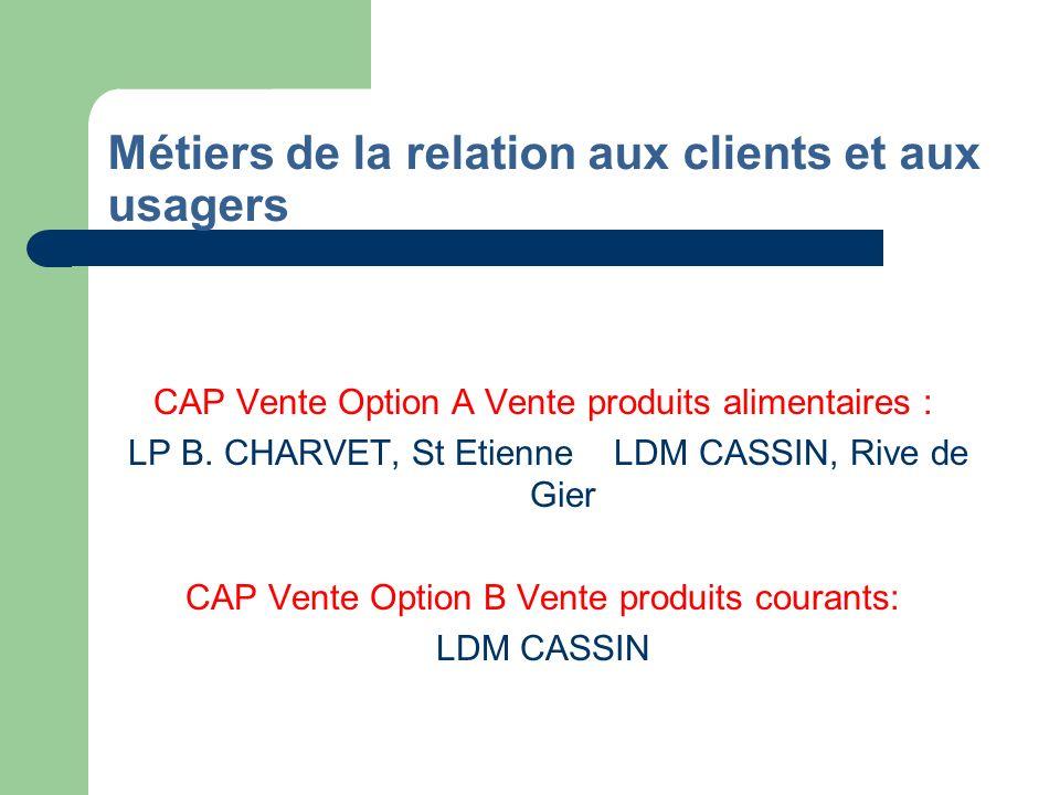 Métiers de la relation aux clients et aux usagers(suite) Bac Pro Commerce : LP B.