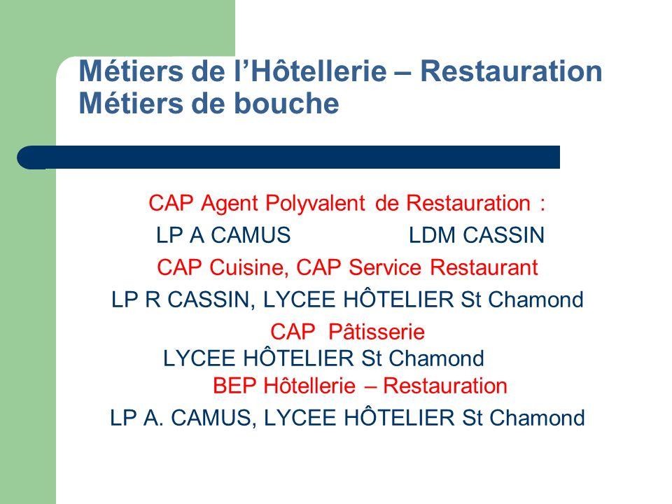 Métiers de lHôtellerie – Restauration Métiers de bouche (suite) Mention Complémentaire Cuisinier dessert de restaurant, Pâtissiers spécialisés (post CAP) : LYCEE HÔTELIER St Chamond BAC Pro.