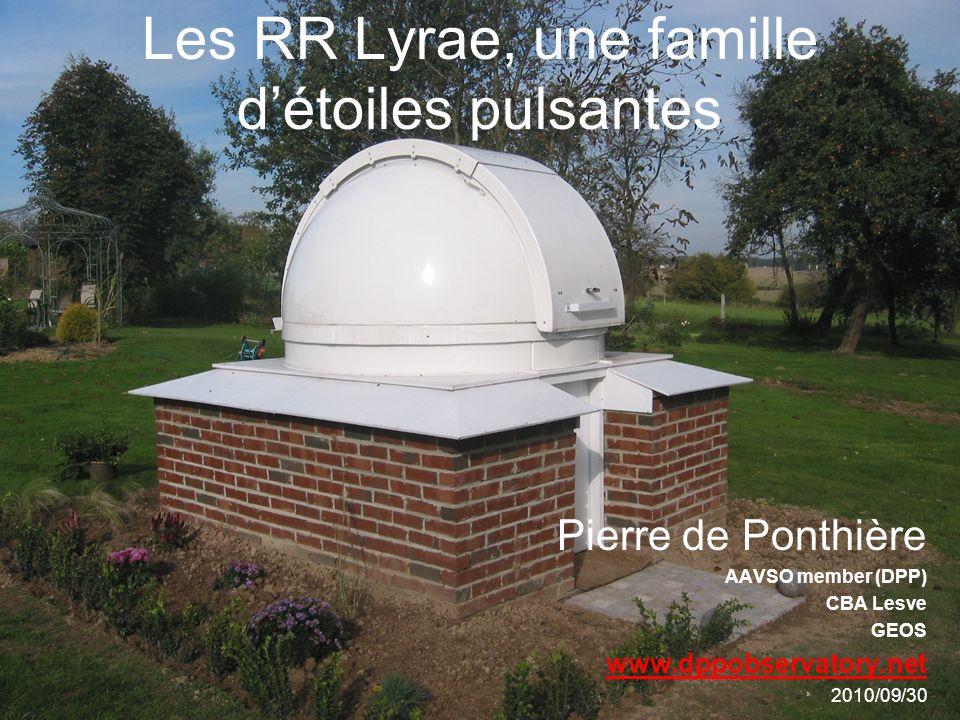 Structure de lexposé Théorie Rappel de lévolution des étoiles Les RR Lyrae dans le diagramme HR Quelques caractéristiques –période –masse –courbes de lumière (RR Lyr ab, c) Mécanisme de la pulsation