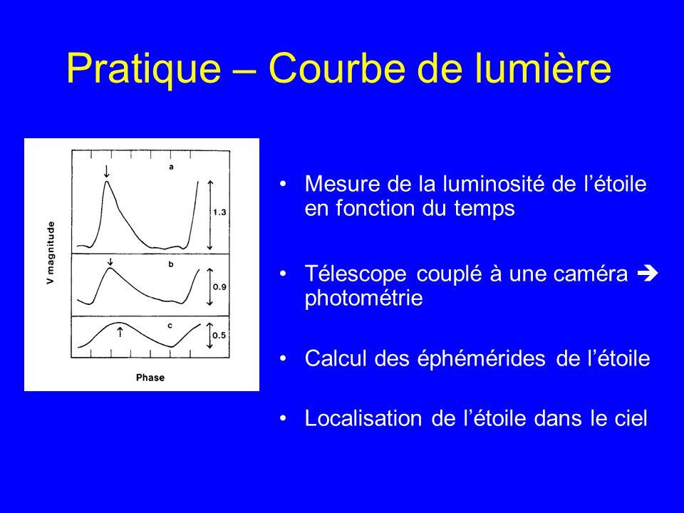 Pratique – Courbe de lumière Mesure de la luminosité de létoile en fonction du temps Télescope couplé à une caméra photométrie Calcul des éphémérides