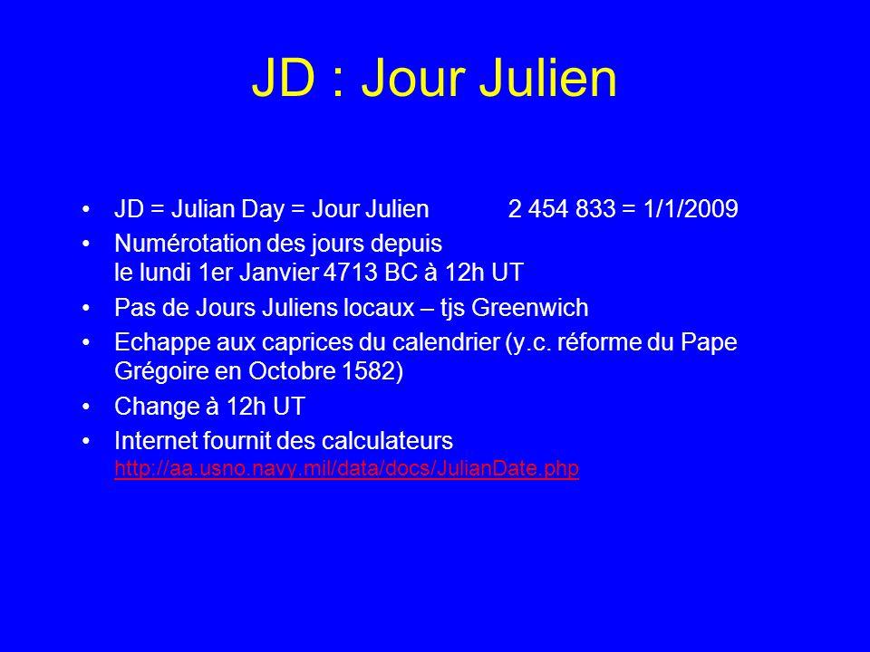 JD : Jour Julien JD = Julian Day = Jour Julien 2 454 833 = 1/1/2009 Numérotation des jours depuis le lundi 1er Janvier 4713 BC à 12h UT Pas de Jours J