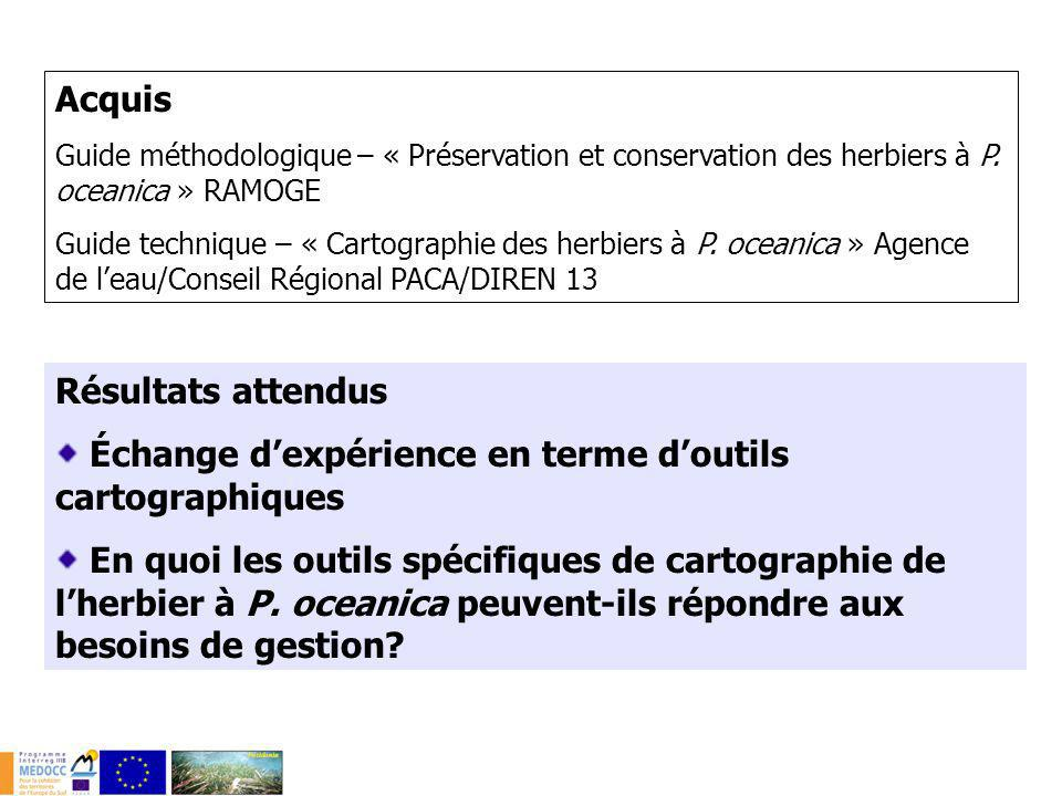 Acquis Guide méthodologique – « Préservation et conservation des herbiers à P. oceanica » RAMOGE Guide technique – « Cartographie des herbiers à P. oc